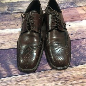 Brown Square Toe Lace Dress Shoes